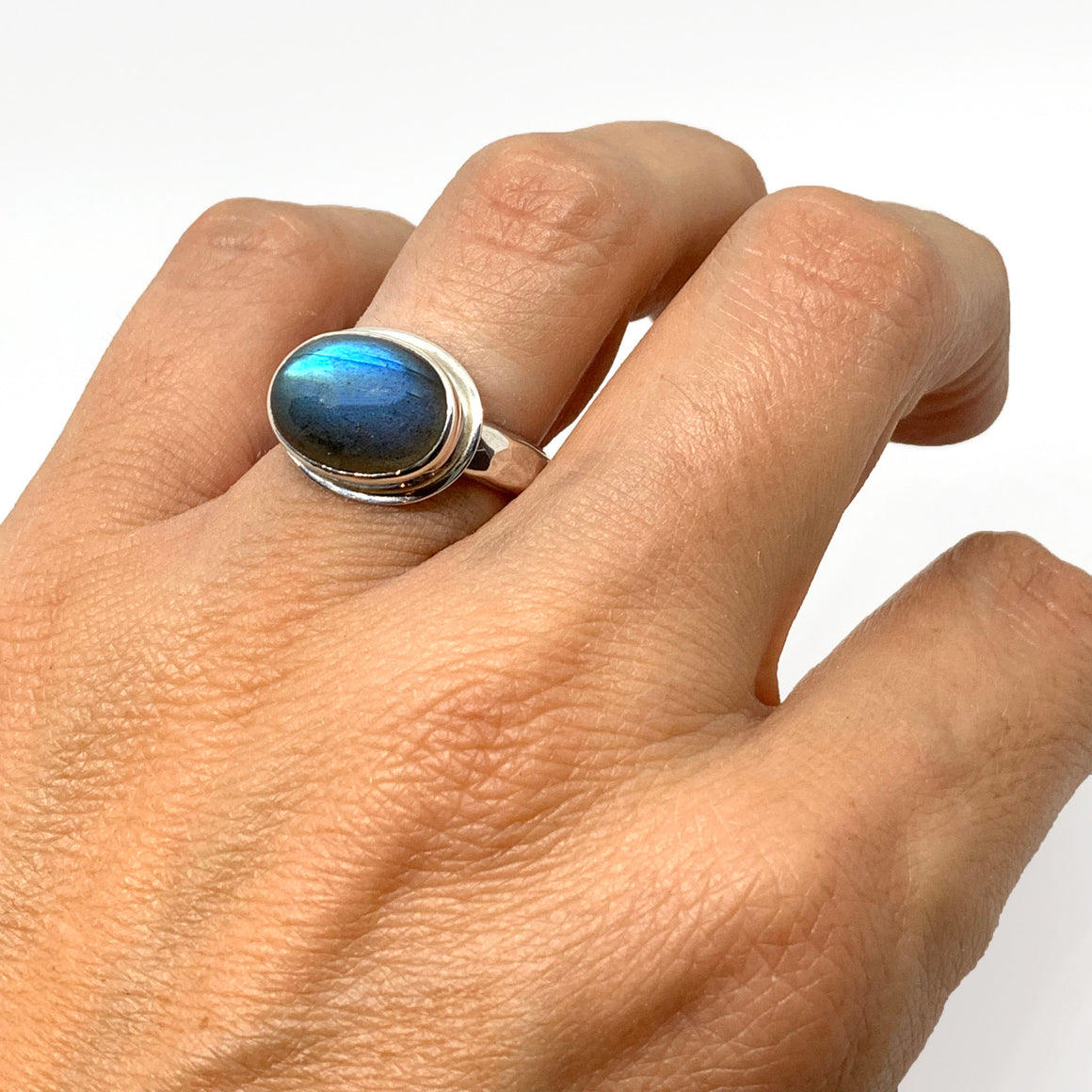 Labradorite Ring Silver Oval with Hammered Band