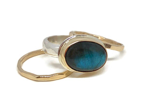 Labradorite Stack Ring Silver and Gold