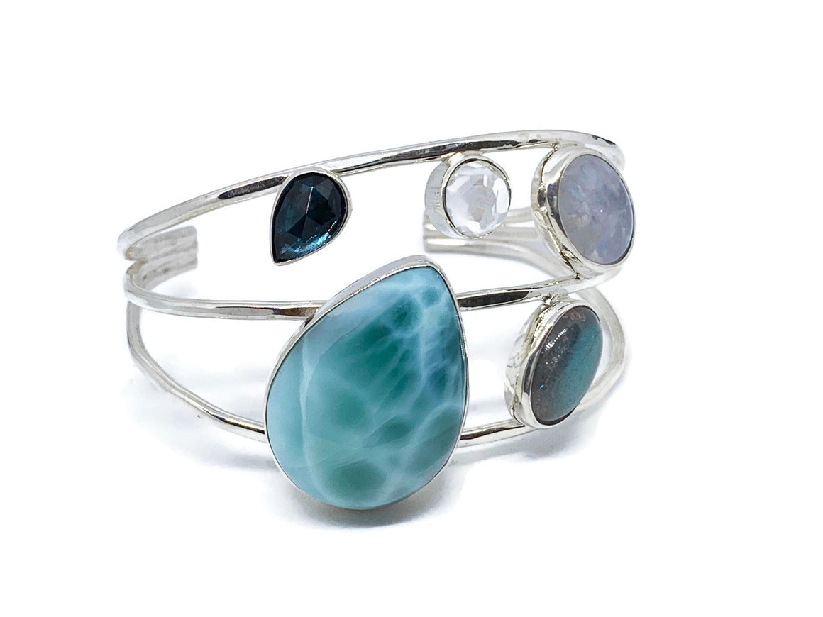 Larimar Bracelet Sterling Silver with Moonstone, Topaz and Labradorite