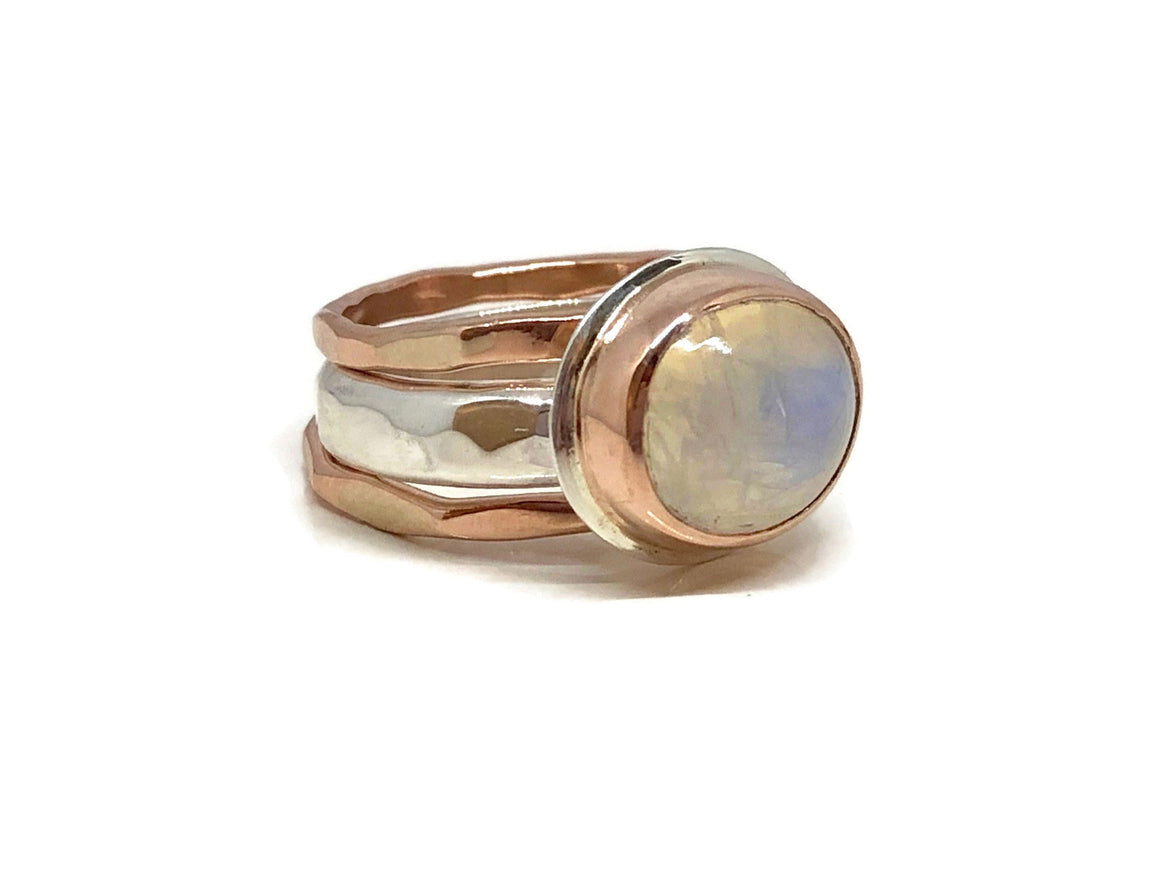 Moonstone Ring Rose Gold and Sterling Silver