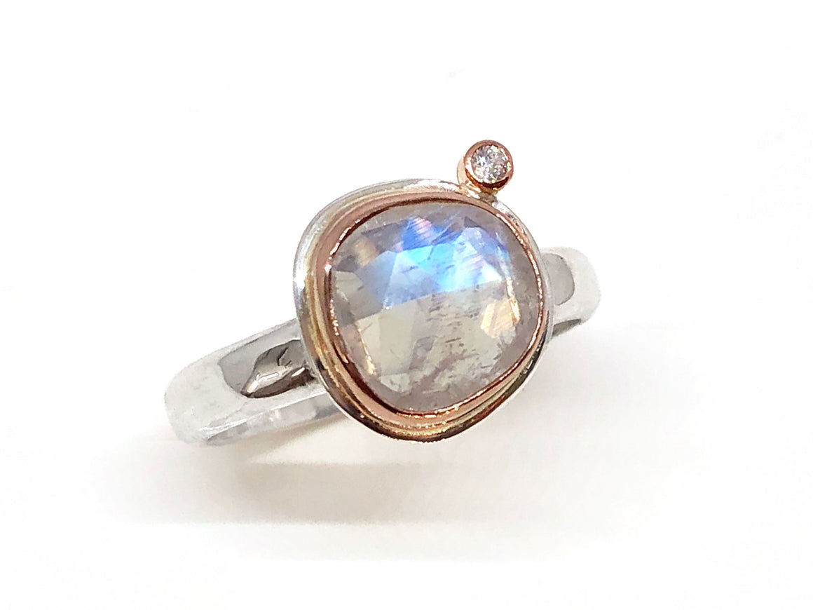 Rose Cut Moonstone and Diamond Ring Rose Gold and Silver