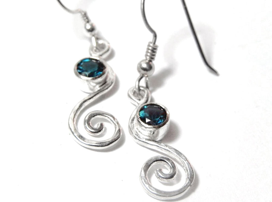 London Blue Topaz Silver Swirl Petite Dangle Earrings