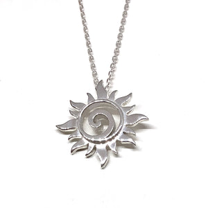 Sun Pendant Silver Swirl Necklace
