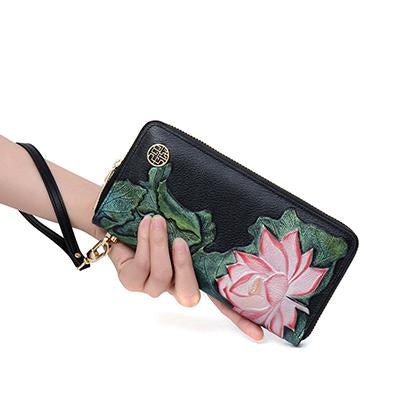KarmaShine- Wallet-Lotus Flower-Leather-Embossed