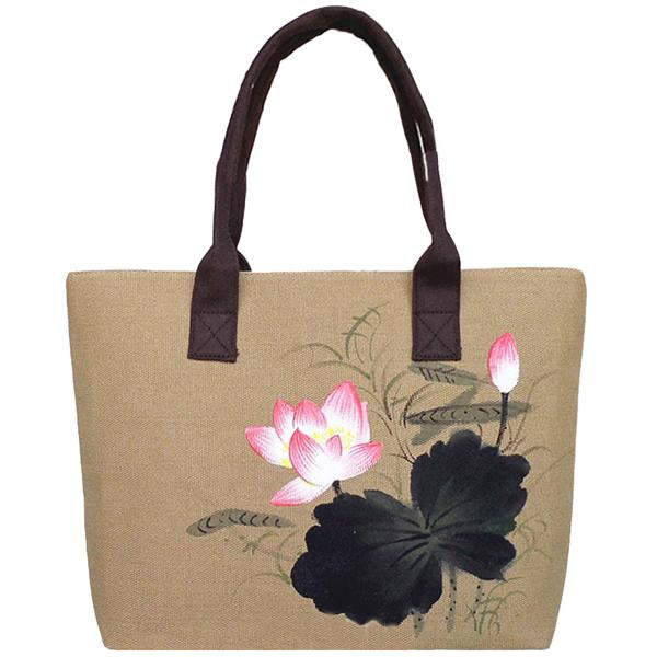 KarmaShine- Handbag-Lotus Flower-Hand Painted-Canvas