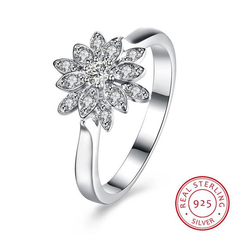KarmaShine- Ring-Lotus Flower-925 Sterling Silver-Cubic Zirconia-3 sizes