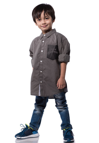 B.U.M Equipment Children Woven Shirt L/S (MD GREY)