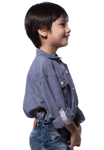 B.U.M Equipment Children Woven Shirt L/S (MD BLUE)
