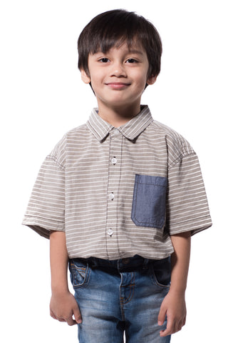 B.U.M Equipment Children Woven Shirt S/S (MD BLUE)
