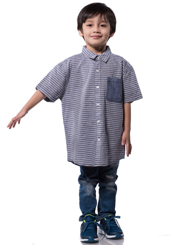 B.U.M Equipment Children Woven Shirt S/S (MD KHAKI)