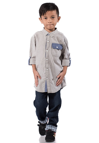 B.U.M Equipment Children Woven Shirt L/S (MD KHAKI)