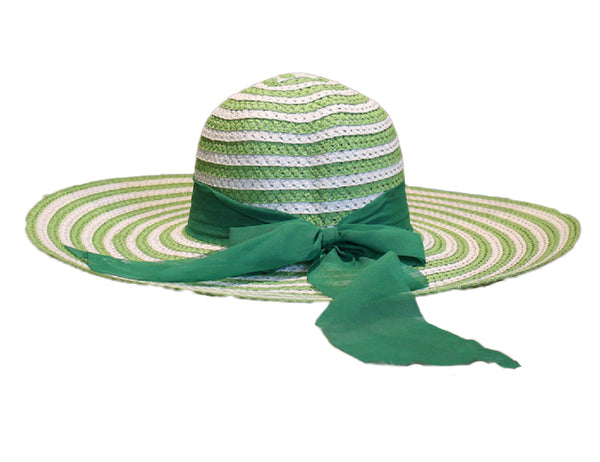 Striped White & Green Beach Hat - BuyAbility South Africa