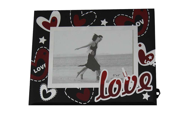 Black, White Mirror Designed 'LOVE' Glass Photo Frame - BuyAbility South Africa