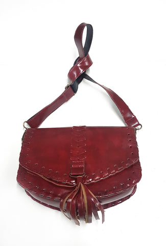 Western crossbody bag, burgundy.