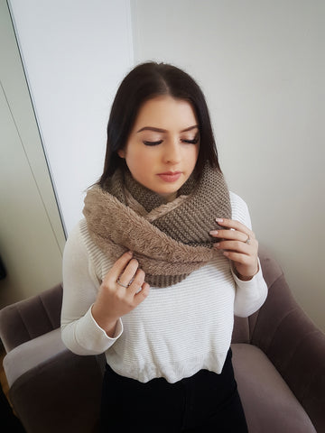 Knit Fleece snood scarf, mocha.
