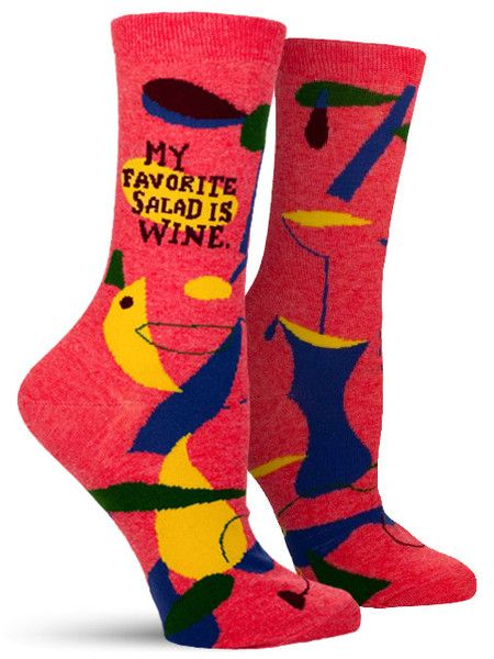 My Favourite Salad is Wine Ladies Socks
