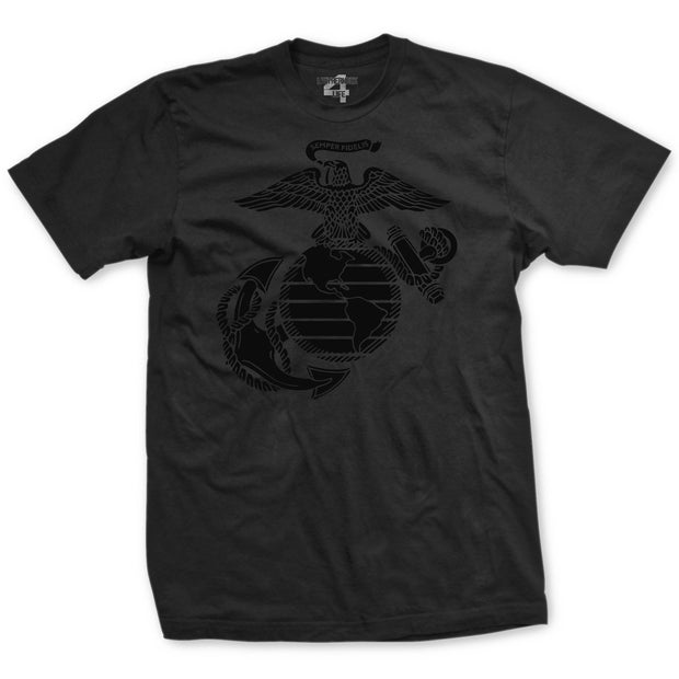 Black Out Eagle Globe and Anchor T-Shirt - Mens T-shirts- Leatherneck For Life