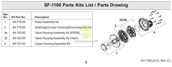 94-719-00 Santoprene diaphragm/lowerhousing/Drive assembly-ready to install