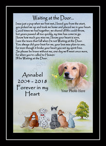 Personalised Pet Dog Rainbow Bridge Memorial Print Waiting at the Door