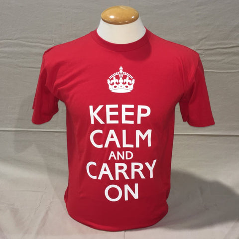 'Keep Calm and Carry On' T-Shirt - Red
