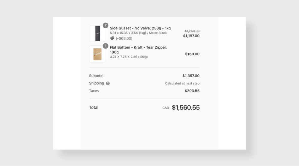 Screenshot of cart page with product options