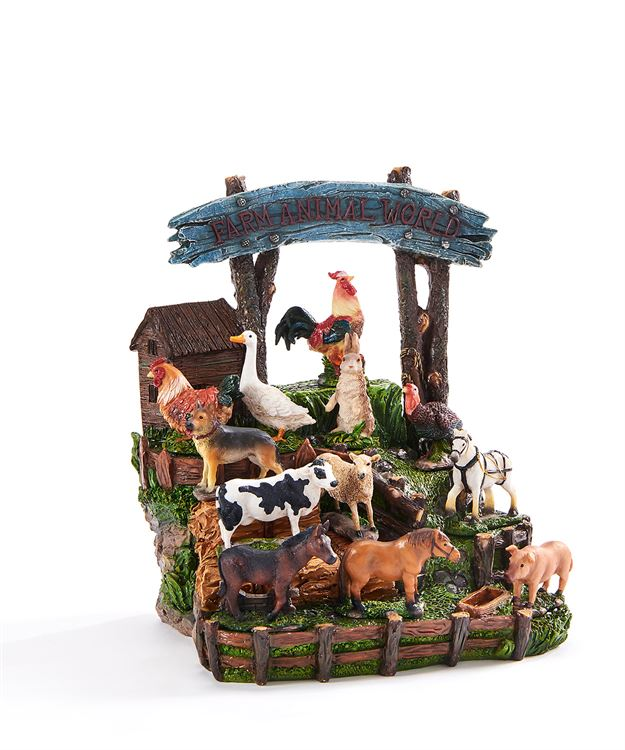 Mini Garden Farmyard Animals - Set of 12 - With or Without Display Base