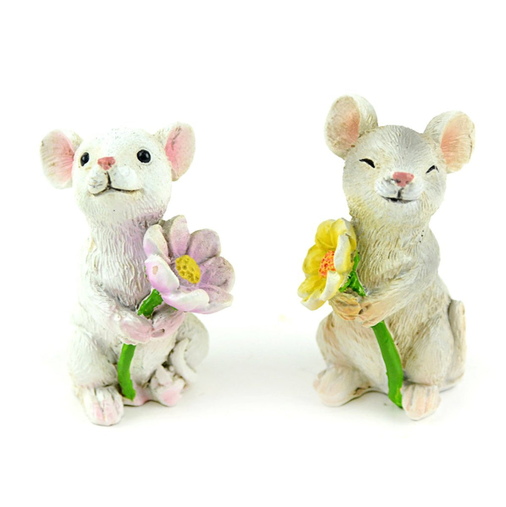 Fairy Garden-Mice Holding Flowers - Set of 2-Animals-Midwest Trading-MyFairyGardens