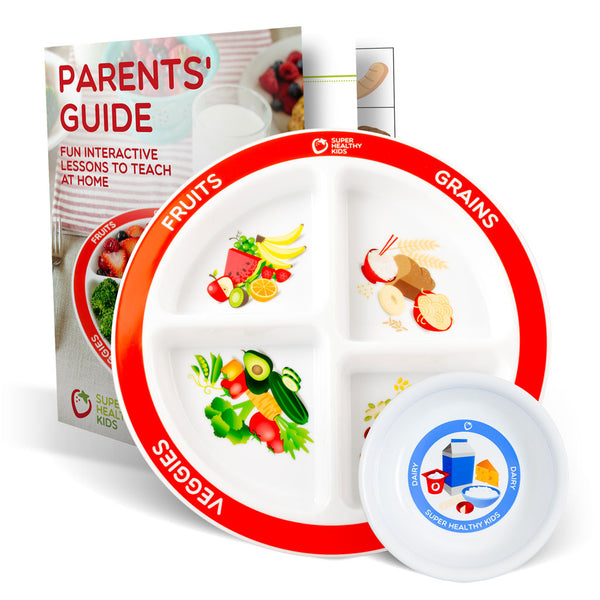 MyPlate Divided Kids Plate with Dairy Bowl and Parent Lesson Plan