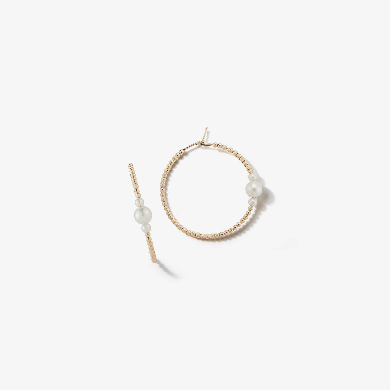 Sea of Beauty Collection.  Medium Three Pearls and Gold Bead Hoop Earrings  SBE234