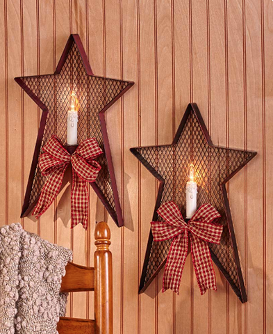 Country Farmhouse Star Wall Sconces Decor With LED Candle