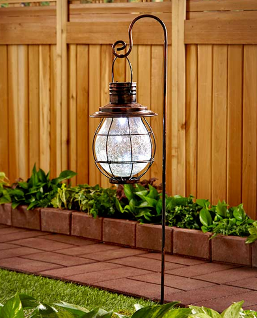 Solar Powered Crackle Glass Antique-Style Lantern Garden Stake