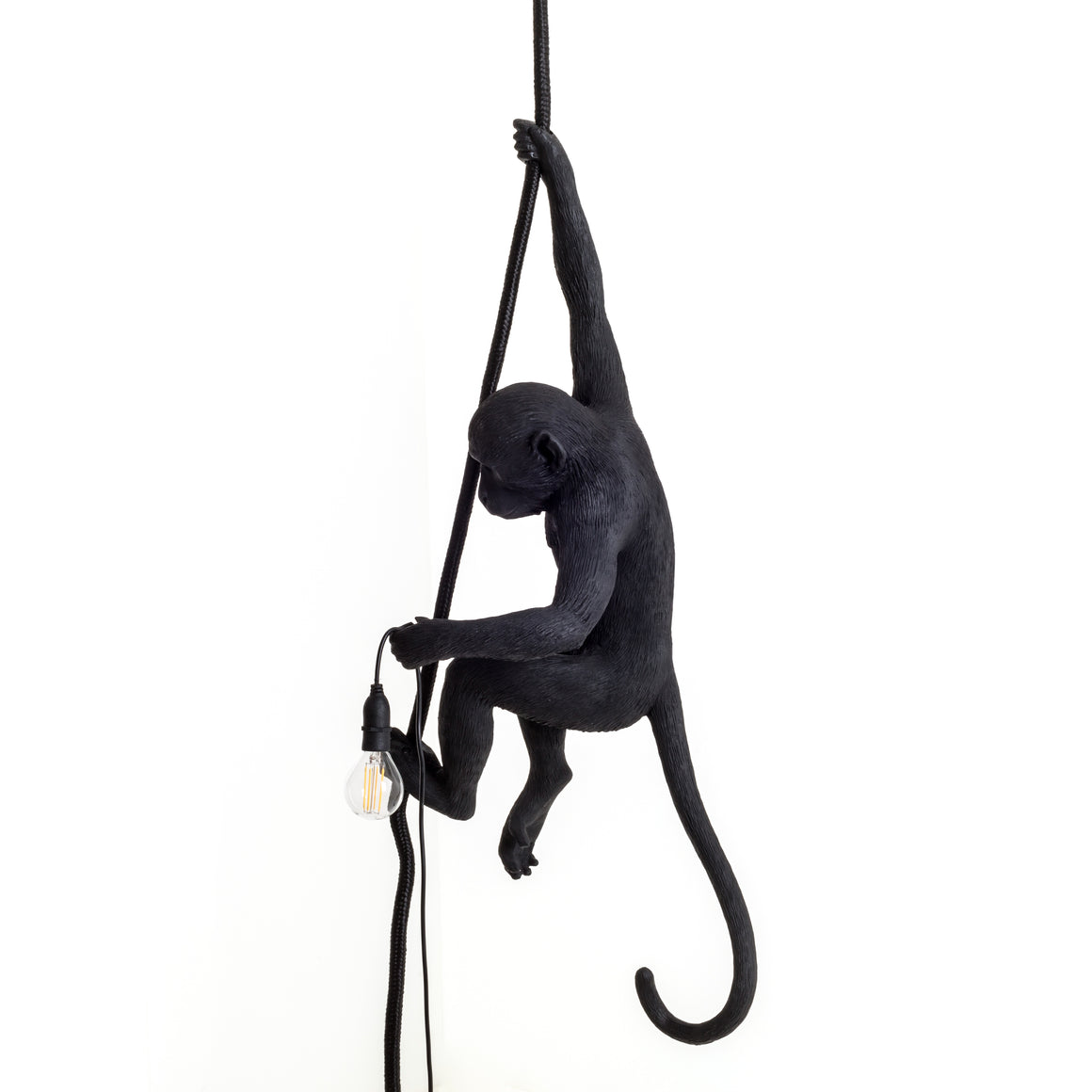 Monkey Lamp with Rope Black