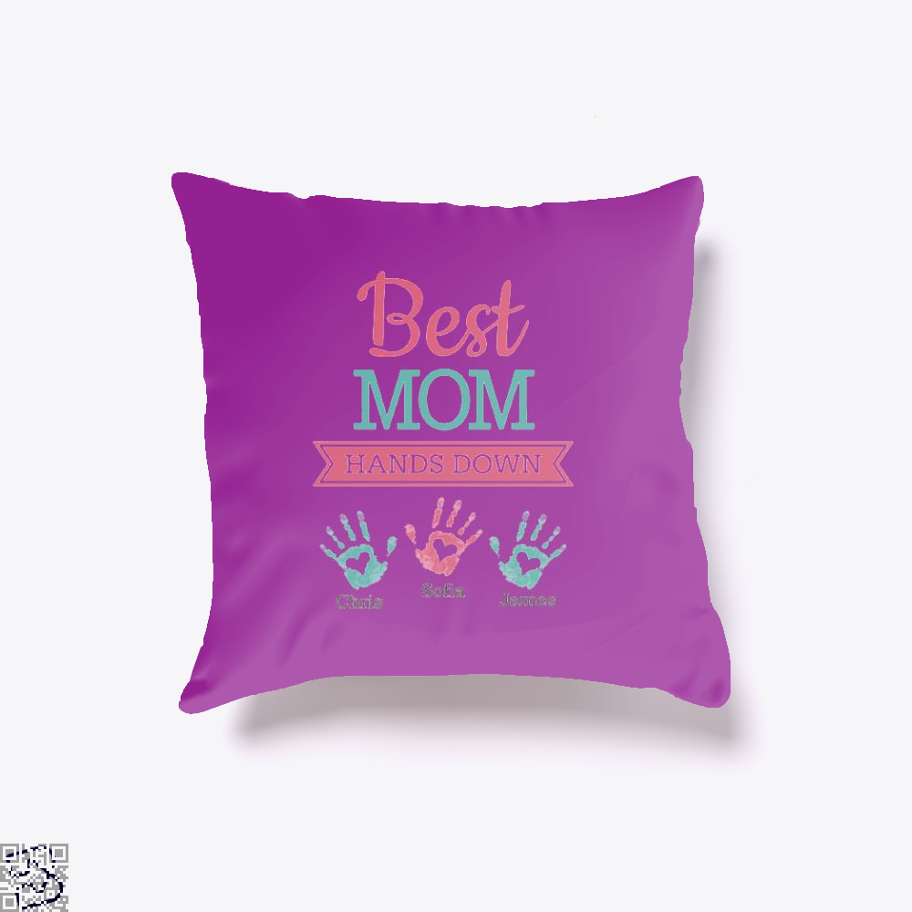 Best Mom Hands Down Mothers Day Throw Pillow Cover - Purple / 16 X - Productgenjpg