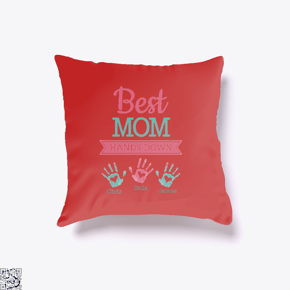 Best Mom Hands Down Mothers Day Throw Pillow Cover - Red / 16 X - Productgenjpg