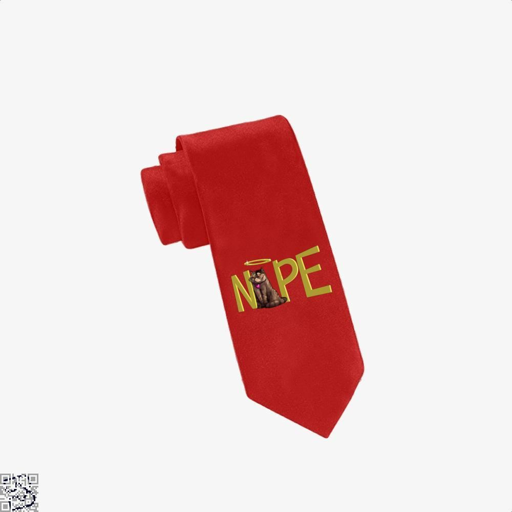 Nope Cat Tie - Red - Productgenjpg