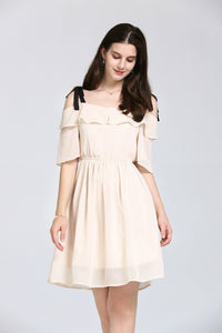 Cream Off-The-Shoulder Dress With Black Straps