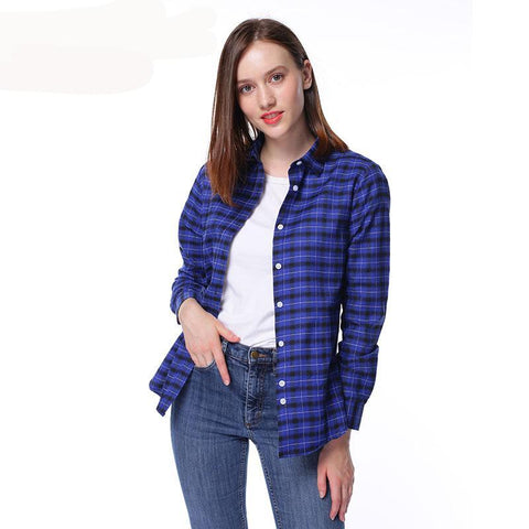 Women's Long Sleeve Checked Shirt