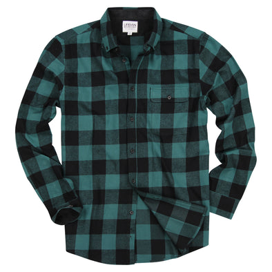 Men's Classic Flannel Shirt green black feat
