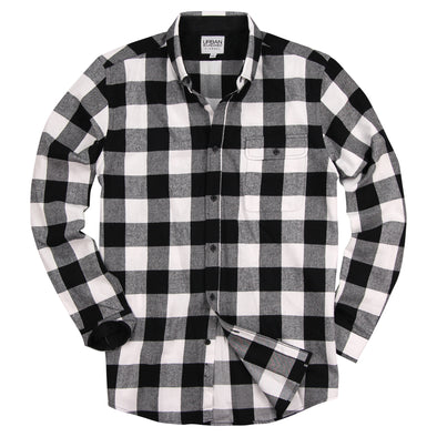 Men's Classic Flannel Shirt Black White Feat
