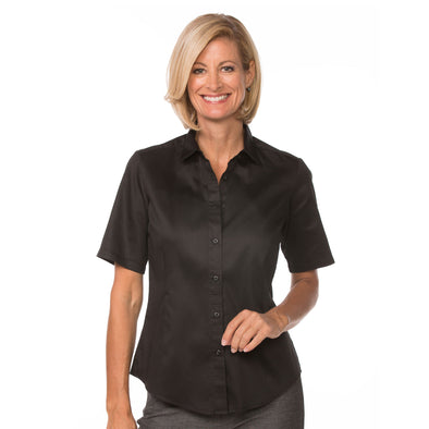 Women's Classic Cotton Shirt (Short Sleeve) black model