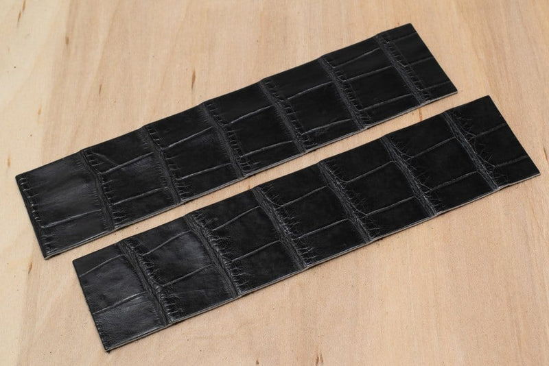 Alligator Watch Strap Panels, Black (Matte Finish)