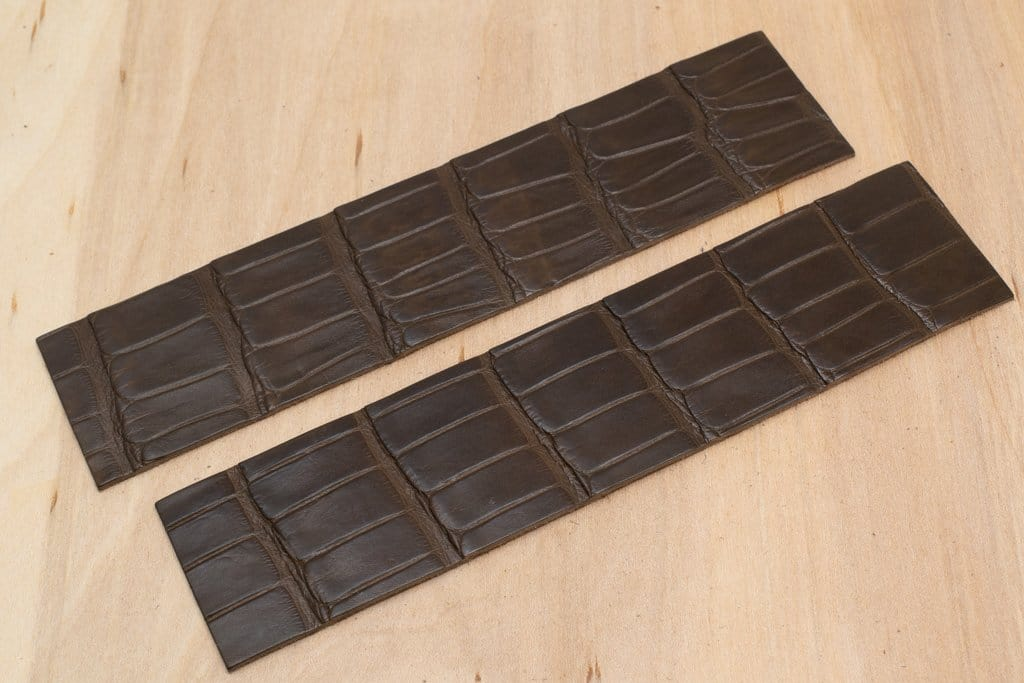 Alligator Watch Strap Panels, Chocolate (Matte Finish)
