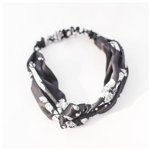 Black + White Floral Headband