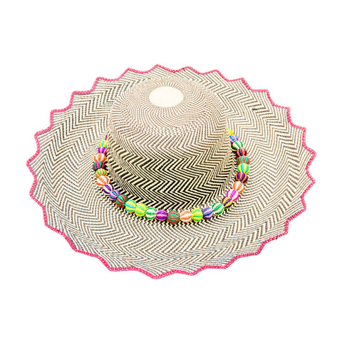 Tricolor Tribal Feather: Straw Fedora