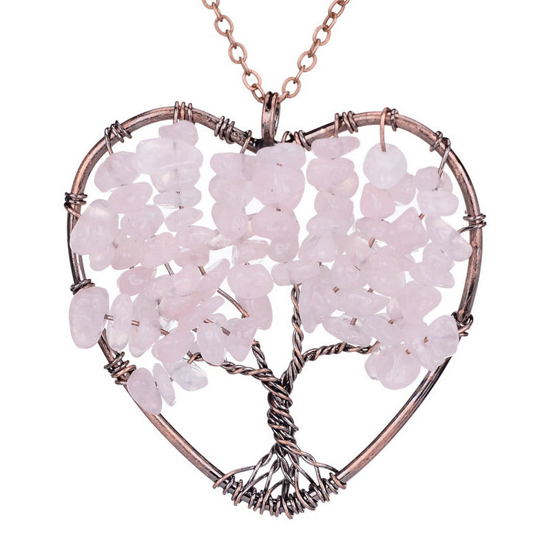 Handmade Tree Of Life in Heart Natural Stone Necklace