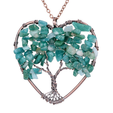 Image of Handmade Tree Of Life in Heart Natural Stone Necklace