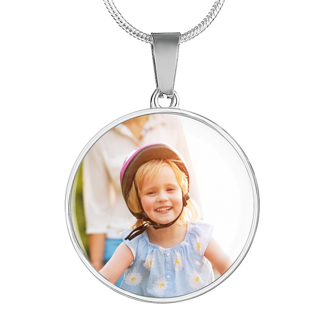 Your Photo Custom Design Circle Charm Necklace Jewelry with Optional Engraving