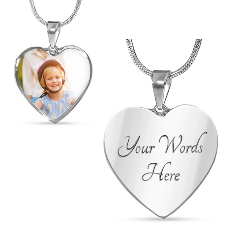 Your Photo Custom Design Heart Charm Necklace Jewelry with Optional Engraving