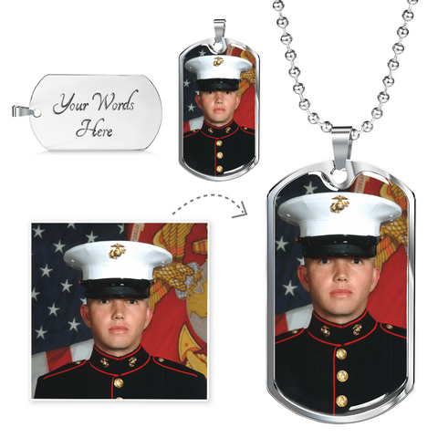 Your Photo Custom Design Military Tag & Chain Jewelry with Optional Engraving