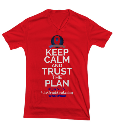 Q-Trust the Plan WWG1WGA The Great Awakening Qanon V-Neck Shirt